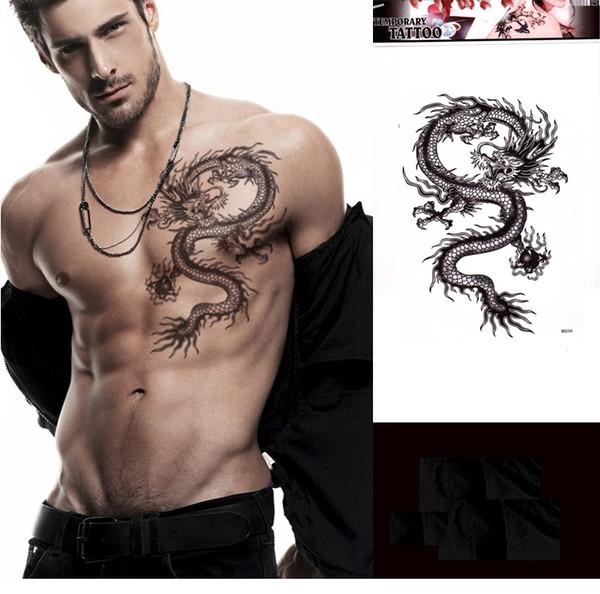 cool uomini grandi adesivi tatuaggio nero drago flash henna falso adesivi tatoo inchiostro temporaneo stencil per braccio petto impermeabile