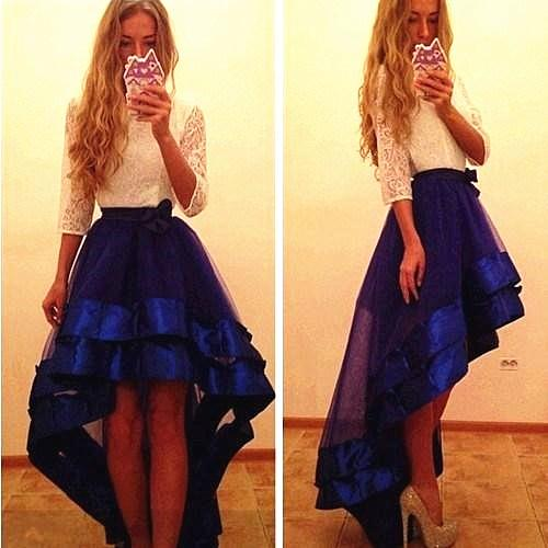 Royal Blue Lace Organza Prom Evening Dresses O Neck High Low A Line Homecoming Graduation Dresses with 3/4 Long Sleeves Party Gowns