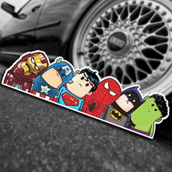 top popular Car Styling Super Hero Hitchhike Save The World Moto Stickers Motorcycle Decal Funny Cartoon Reflective Car Sticker Accessories 2020