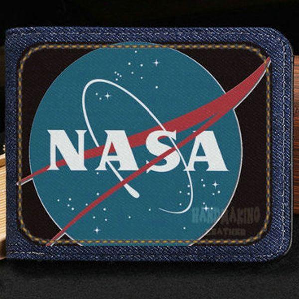 Nasa wallet Space design purse Customized photo short cash note case Money notecase Leather burse bag Card holders