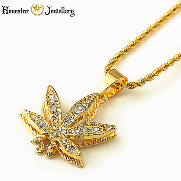 33d7936ebc Wholesale Mens Double Layer Iced Out Weed Leaf Gold Plated Pot Plant  Necklace Small Pendant 31.5inch Rope/Twist Chain Hip Hop Necklace Wholesale  ...