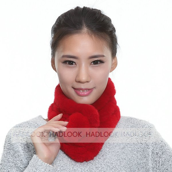 Fur Scarf for Women Real Rex Rabbit Fur Ring Ball Scarf Lady Neckerchief Warm Neck Scarves New 2016 Winter Fashion Natrual Real