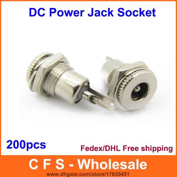 200pcs 2.1mm x 5.5mm DC Power Adapter Female Plug Jack Panel Mount Connector Socket Adaptor 2.5mmx5.5mm Fedex / DHL Free shipping