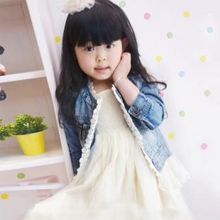 best selling 2014 Baby girl Fashion Casual lace denim Jackets Girls Cute Tops Children Clothing Kids lace Denim Coats Children Jacket C001