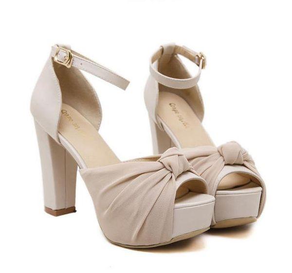 Sexy cinturino alla caviglia peep toe scarpe con plateau a tacco alto e spesse scarpe da sposa in avorio di 10 cm dalla 34 alla 39