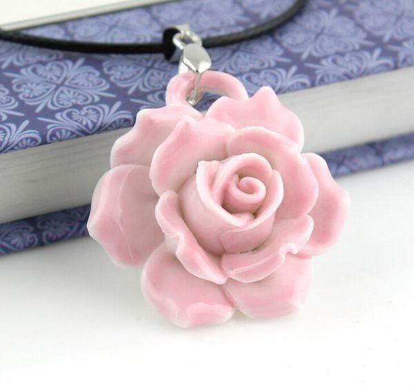 18 kindsFeatures elegant Unique Design Ceramic drill Pendant Necklaces Flowers Pendant Necklace Elegant Sweater Chain Good Gift FreeShipping