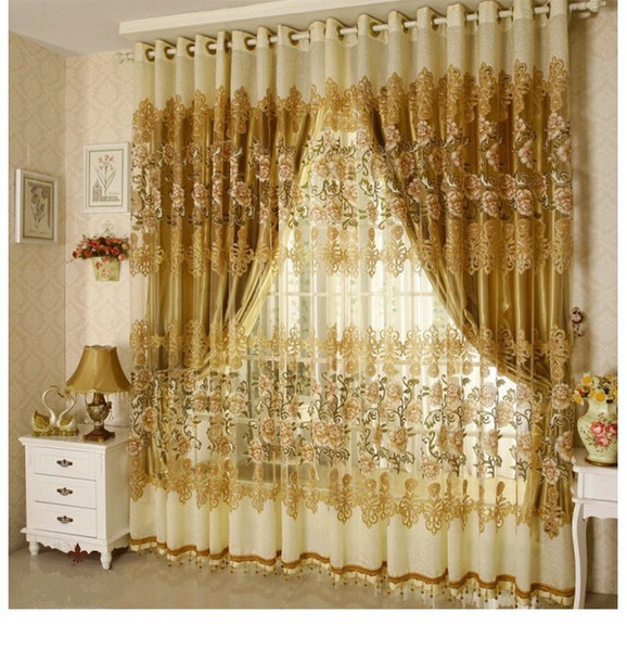 top popular Luxury Voile Curtains + Blackout Curtains For Living Room Customized Ready Made Window Treatment  Drapes Green  Purple   Golden 2020