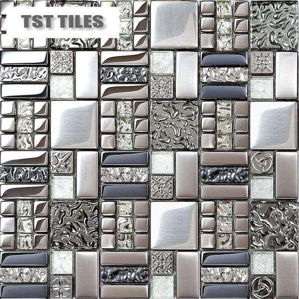 Startseite Fliesen Mosaike Silbermetallbeschichtung Glasfliese Backsplash  Küche Badezimmer Wand Dekor 12x12 Gittermatte Spiegel Bar