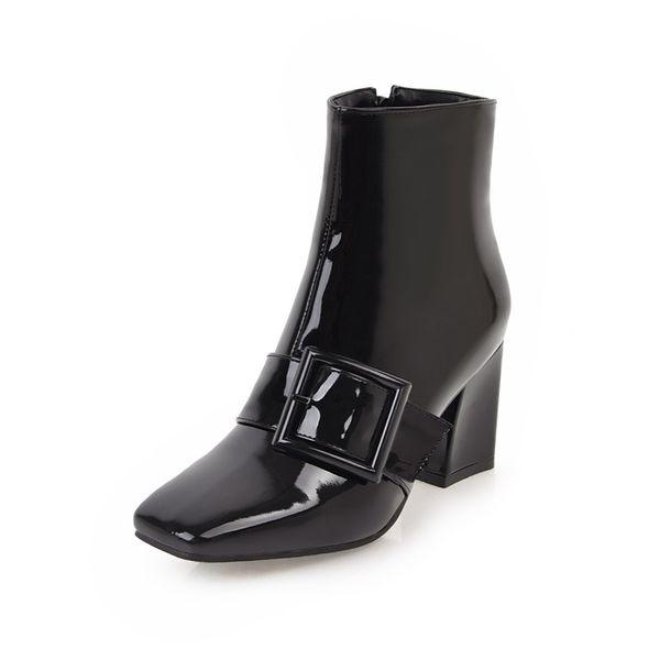Spring and autumn European and European fashion square head zipper buckle with coarse high heel boot JIAXIN 6-6