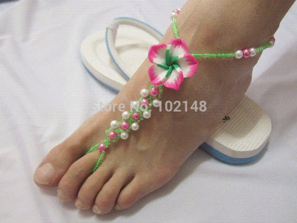 New flower barefoot sandals foot jewelry beach anklets chain toe ring braclets handmade elastic water free exclusive design