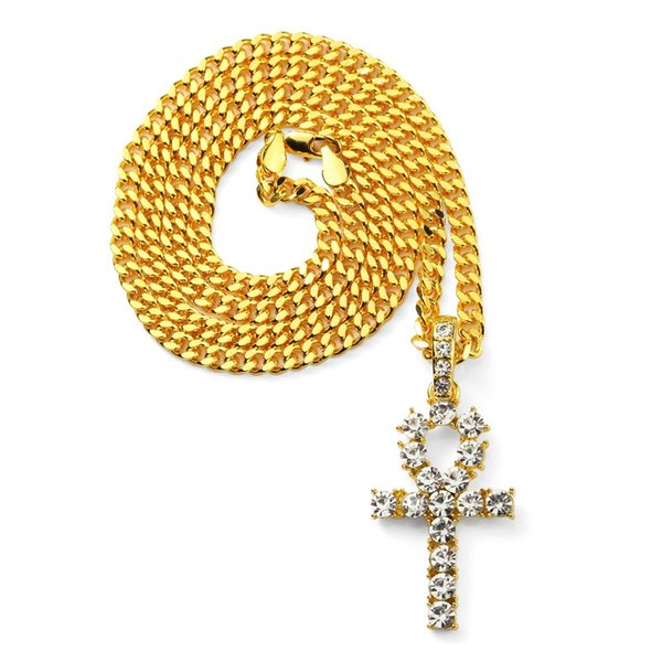 Fashion Men Key Pendant Necklace Full Crystal Design 18k Gold Plated 70cm Long Chain Rock Micro Hip Hop Jewelry