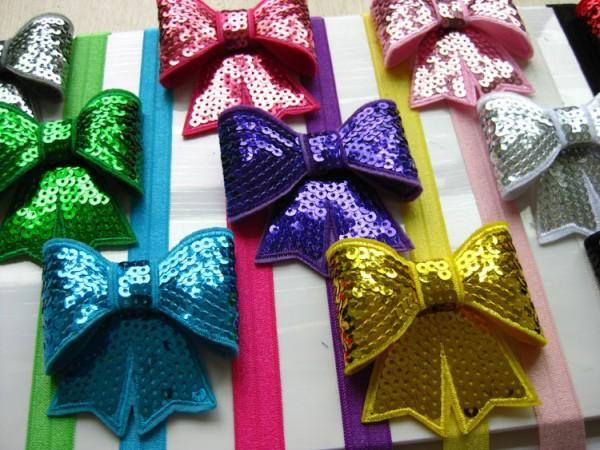 Girl pin wheel ribbon Bow 14 color embroidery sequins bowknot baby hair bows hair band Baby Boutique Hair band girl hair accessories D675J