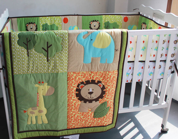 Embroidery 3D lion elephant deer tree Baby boy bedding set 6Pcs Crib bedding set Baby Quilt Bumper Fitted Sheet Cot bedding set