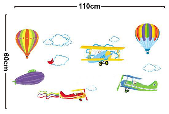 Removable Cartoon Airplane and Hot Air Balloons Wall sticker decals Nursery Kids Room Home Decoration