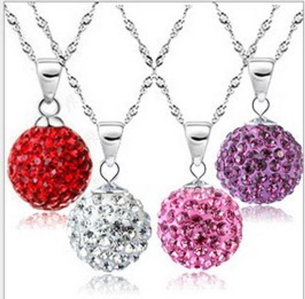 925 Sterling Silber Kristall Shambhala Schmuck Ball Anhänger Aussage Halskette Vintage Hochzeit Charme Mode Frauen Strass Halskette