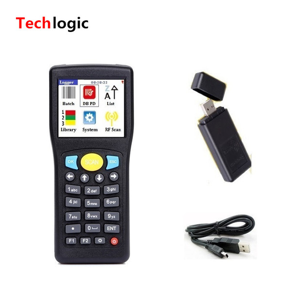 top popular Wholesale- Techlogic E0589 Mini Inventory Wireless Barcode Scanner Handheld Terminal PDA Warehouse Display merchandise information 2019