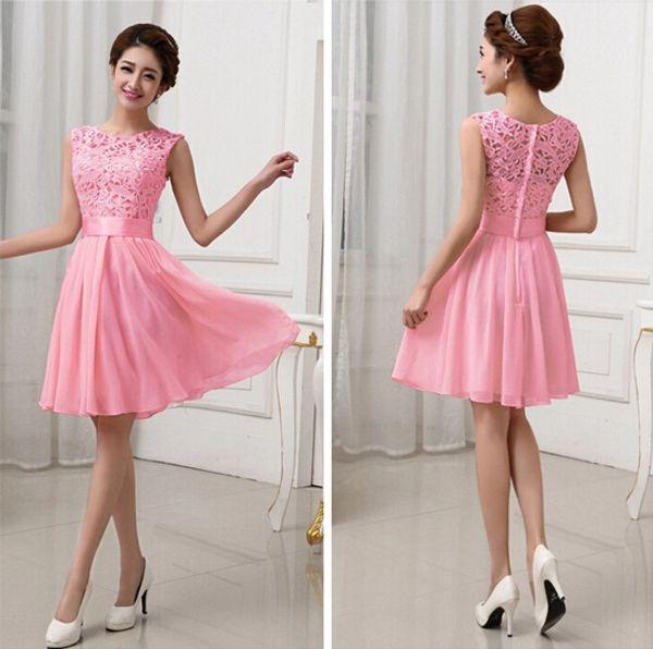 Hot Sales Vestidos De Fiesta Pink White Chiffon Short Formal Prom ...
