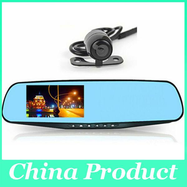 4.3inch 1080P Dual Lens Car DVR Blue Mirror Full HD H.264 120Angle View Separated Rear camera Gsensor dvr mirror hd 010226