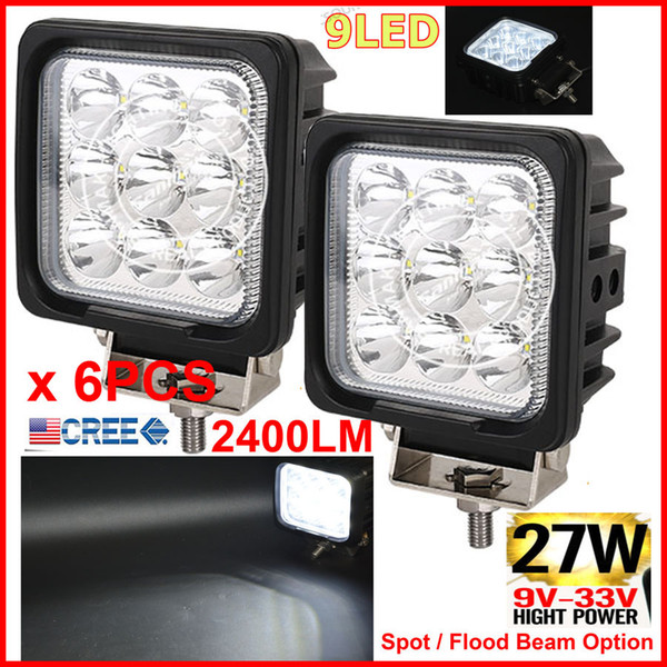 "6PCS 4.25"" 27W CREE 9LED*3W Driving Work Light Square Offroad SUV ATV 4WD 4x4 Spot / Flood Beam 12/24V 2400lm Truck Forklift Fog Headlamps"