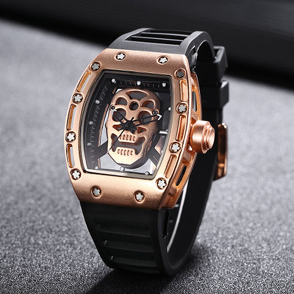 New AAA Fashion Casual Business Men Quartz Watch Luxury Stainless Steel Skeleton Watch Silicone Strap Waterproof Sports Watch