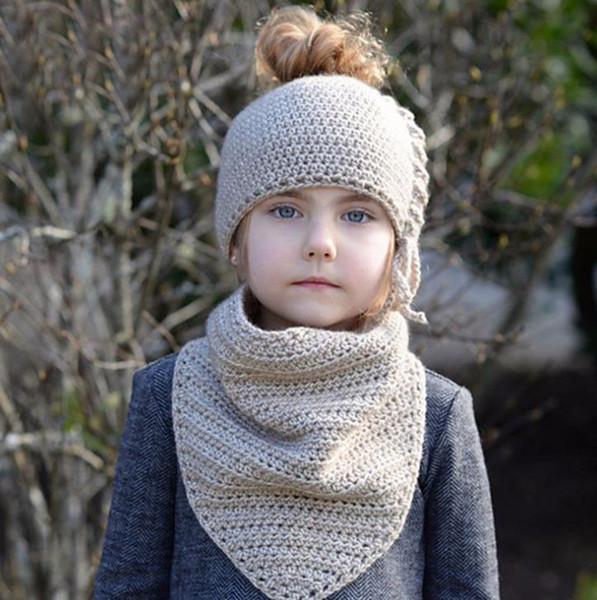 New Autumn Winter Baby Kids Knitted Cap Neck Warmer 2pcs Set Girls Children Princess Crochet Warm Scarf Hat M142