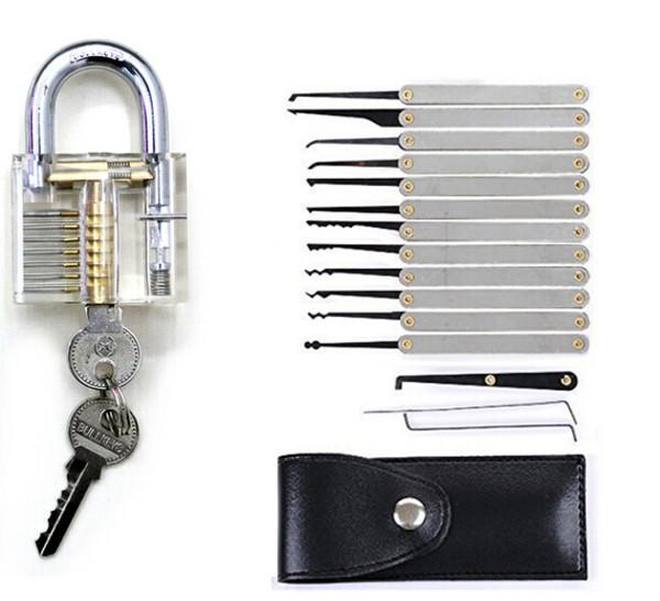 Fabrik Direkt verkauft 16 stücke Training Lock Pick Set Schlosser Praxis Werkzeuge Mit Transparent Cutaway für Öffner Tür Entsperren
