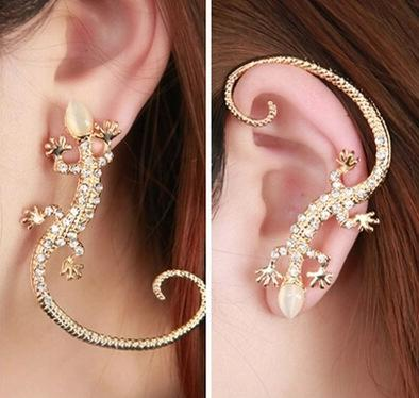 top popular Accessories New Fashion lizard stud earrings Silver gold Color gekkonidae hot-selling earrings Punk Rock Crystal Jewelry 2019