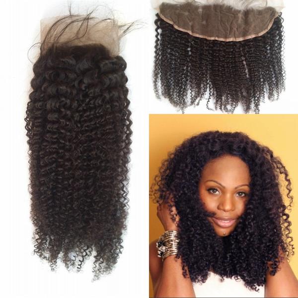 Barato Encaje Frontal Cierre 13 * 4 pulgadas Kinky Rizado Grado Superior Brasileño Virgin Human Hair Color Natural Dyable 8-22inch G-EASY Hair