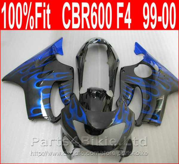 Fitment Body parts for Honda CBR 600 F4 custom blue flame fairings 1999 2000 CBR600 F4 99 00 fairing kit CPAI