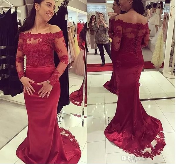 Gorgeous Burgundy Long Sleeves Prom Dresses Lace Appliques 2018 Evening Gowns Floor Length Mermaid Backless Maternity Reception Dress
