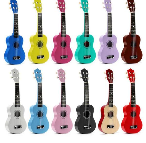 "best selling 12 Colors 21"" Soprano Ukulele Basswood Nylon 4 Strings Guitarra Acoustic Bass Guitar Musical Stringed Instrument for Beginners"