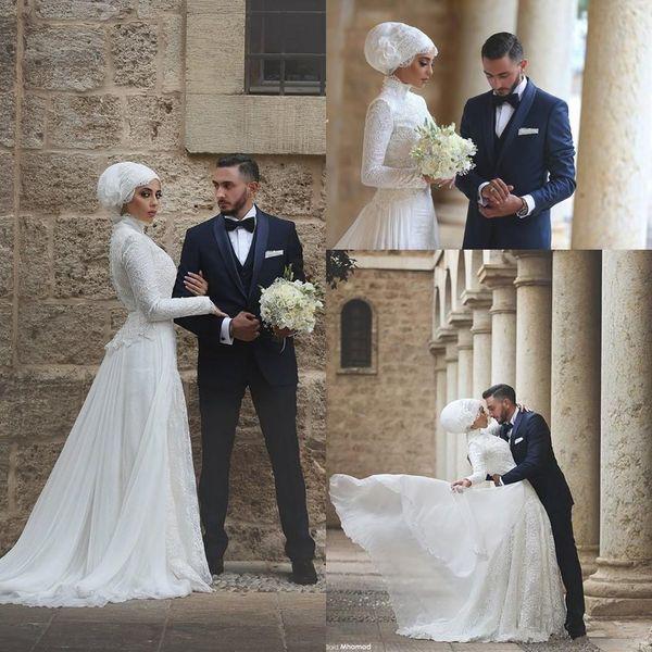 Moda árabe musulmán vestidos de novia modestos con cuello alto de manga larga de encaje gasa vestido de boda más el tamaño de las mujeres islámicas ropa