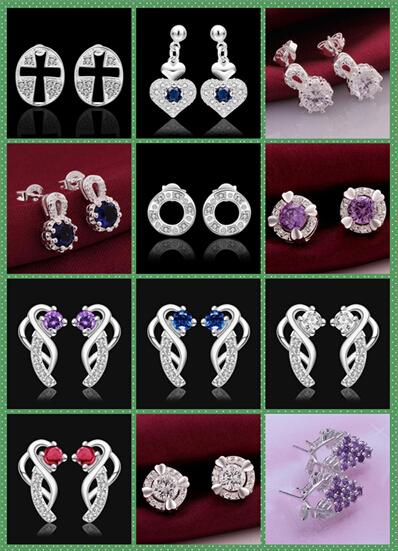 925 Silver jewelry crystal Charming women/girls nail Earrings 10Pairs Mix 12 style Choices Earrings Best gift