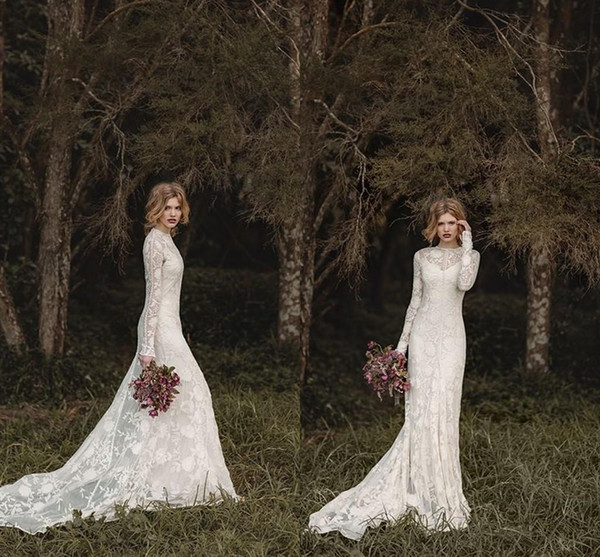 top popular Elegant Lace Bohemian Long Sleeve Wedding Dresses 2019 Sheer Neck Full Back Floor-length A-line Country Bridal Dresses Cheap Gown 2019