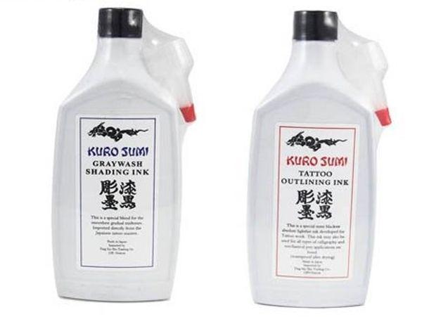 2 Flaschen Schwarz Kuro Sumi Graywash Shading und Black Outlining Tattoo Ink 12 Unzen 360ml / Flasche Tattoo Pigment