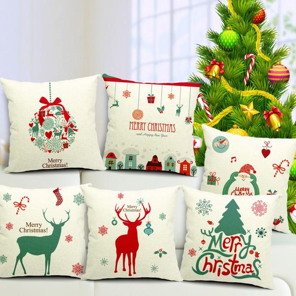 8 Styles Merry Christmas Cushion Cover Santa Claus Deer Present Bell Pillow Case Creative Sofa Chair Decoration