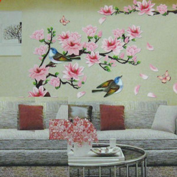 3D New Cherry Peach Blossom Flower Branch Butterfly Removable PVC Art Wall Sticker Wall Decor Decals DIY