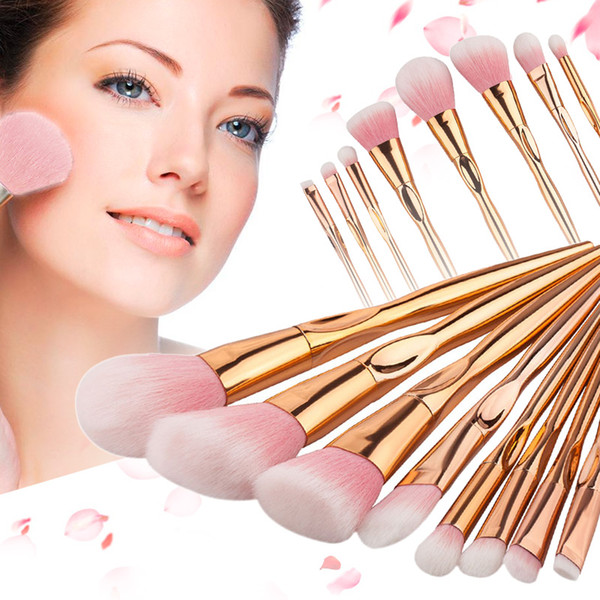 Gujhui Brand 8 12pcs Rose Gold Handle Makeup Brushes Set For Eyeshadow Contour Powder Soft Make Up Brush Cosmetic Tool #225247