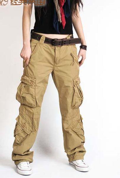 Moda Bayan kargo pantolon çok cep rahat pamuk pantolon geniş bacak ordu kadınlar için askeri camo kargo tulum hip hop pantolon