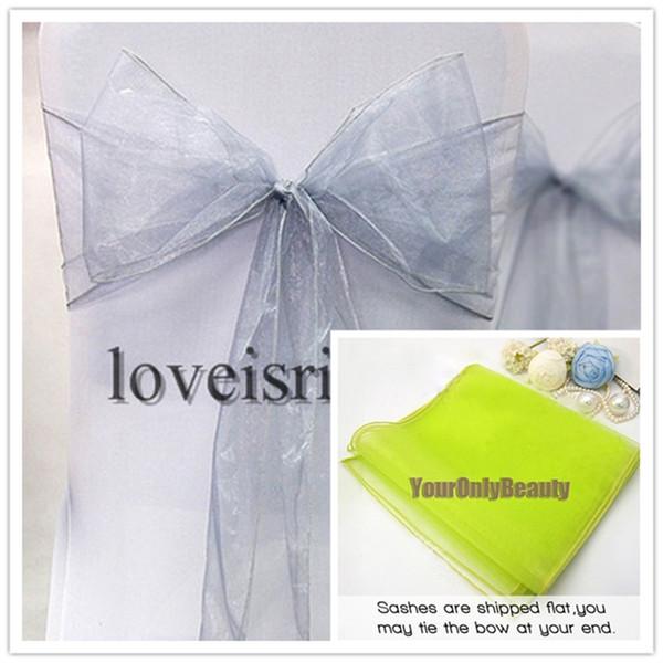 "Wholesale-25pcs Silver 8"" (20cm) W x 108"" (275cm) L Sheer Organza Sashes Wedding Party Banquet Chair Organza Sash Bow--Hot Sale"