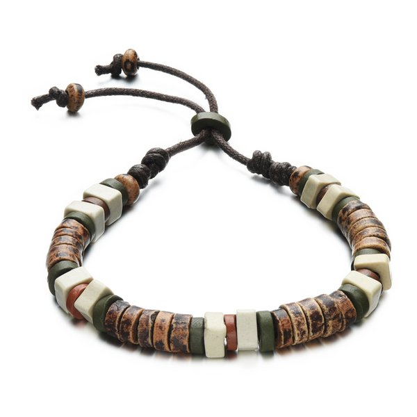 Mix and Match Style Earth Look Clay Beads String Bracelet regolabile