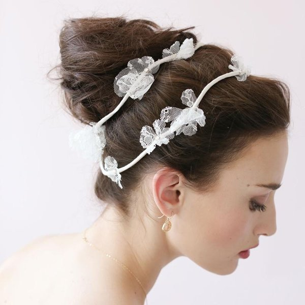 Tiaras Sale Tiara Noiva 2015 Newest Handmade Bridal Hair Accessories Bands Flower Lace Fashion Floral Headband Headpiece for Brides 2016