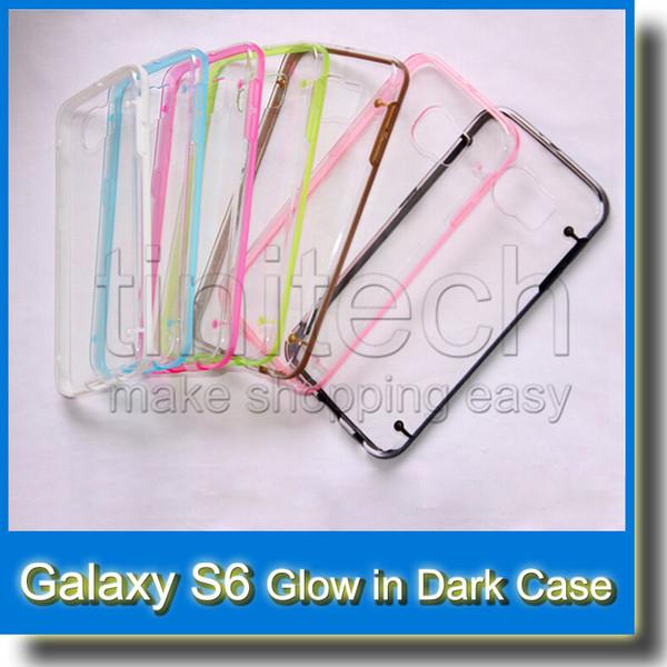 Glow in Dark Luminous TPU Gel Bumper Hybrid Hard Clear Skin Plastic Cover Case for Samsung Galaxy S6 G9200 S5 I9600 S4 I9500 S3