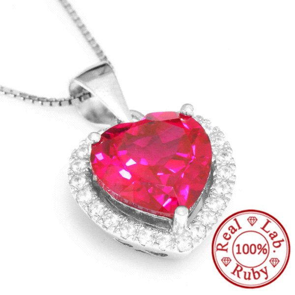 Feelcolor 4.5ct Pigeon Blood Red Gem Stone Ruby Pendant Heart For Women Wedding 18k Gold Plated 925 Sterling Silver Set