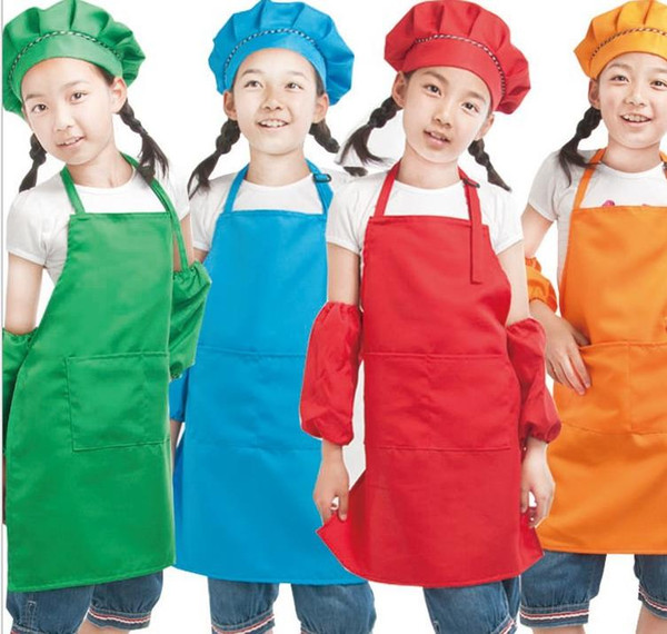 best selling plain apron for kids kitchen children solid aprons with pockets chef pinafore polyester garden artist painting crafts girl boys party class