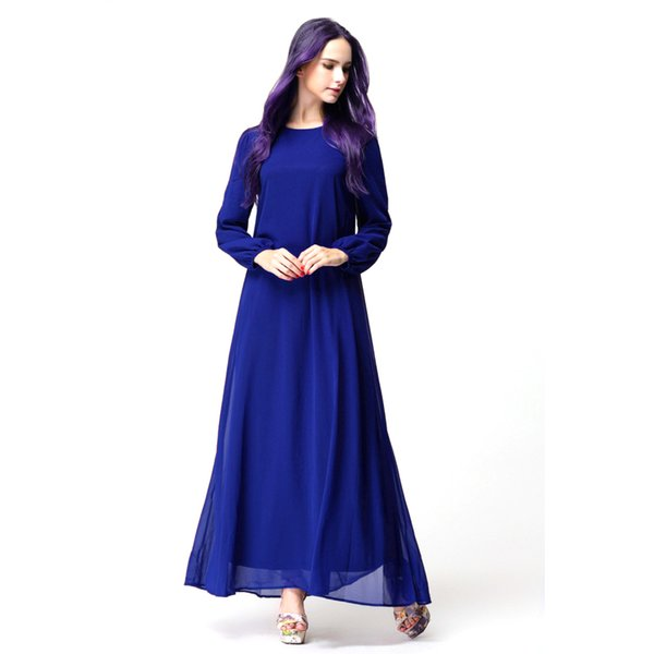 Wholesale-Women's Maxi Long Dress Chiffon Belt Long Sleeve Dress Abaya Islamic Muslim