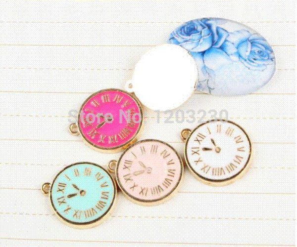 Fashion DIY Alloy drop oil gold plated the trumpet hanging table clock fit bracelet/ necklace/ phone/key chain charms