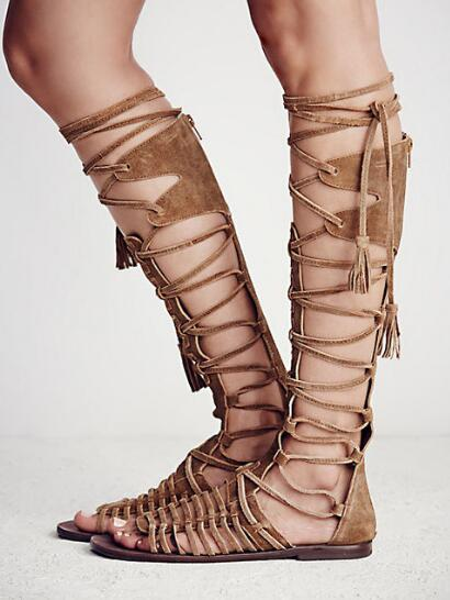 2017 Summer Fashion Lace-Up Long Gladiator Sandals Cut-Outs Knee High Women Boots Peep Toe Plus Size Women Flat Shoes