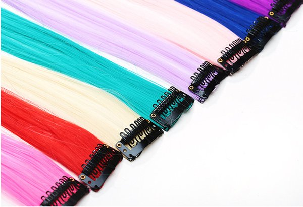 Fashion hair extension for women Long Synthetic Clip In Extensions Straight Hairpiece Party Highlights Punk hair pieces DHL freeshipping