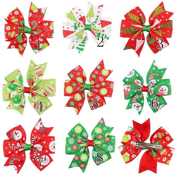 16 Pcs /Lot 3 Inch Christmas Grosgrain Ribbon Bows With Clip Snow Pinwheel Hair Clips Hair Pin Girls Hair Accessories A60